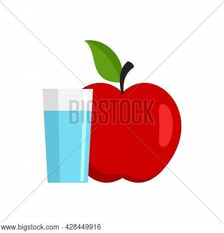 Water Glass Fresh Apple Icon. Flat Illustration Of Water Glass Fresh Apple Vector Icon Isolated On W