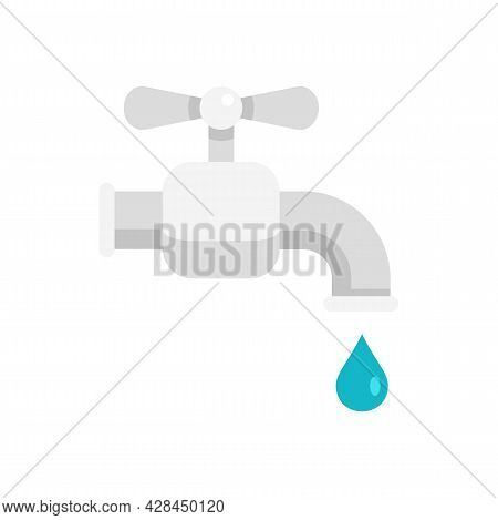 Water Tap Icon. Flat Illustration Of Water Tap Vector Icon Isolated On White Background