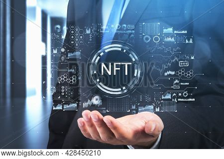Businessman Hand, Palm Up, Holding Non-fungible Token Hologram, Nft With Network Circuit. Concept Of