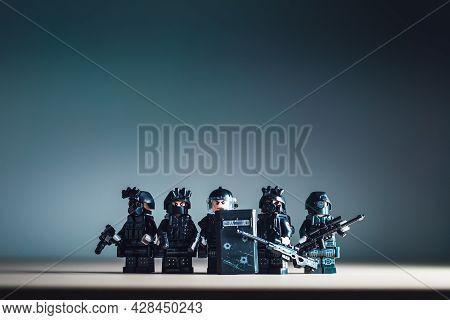 Billund, Denmark - July 15, 2021: Miniature Swat Team. Illustrative Editorial