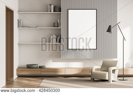 Banner In The Living Room Interior With Shelves, Corrugated Wall Detail, Beige Armchair With Slim La