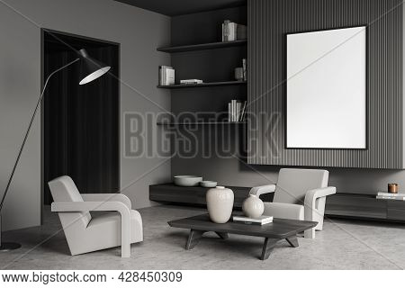 Banner In The Living Room Interior With Shelves, Dark Lining Panels, Armchairs With Coffee Table, Th