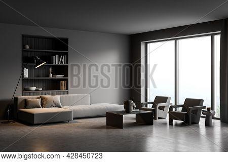 Corner Of The Dark Living Room Interior With Panoramic View, Wall Niche With Bookshelf, Stylish Lamp