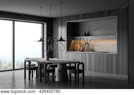 Panoramic Dark Grey Kitchen Interior, Having Niche, Oval Table With Stools, Panoramic Window, Concre