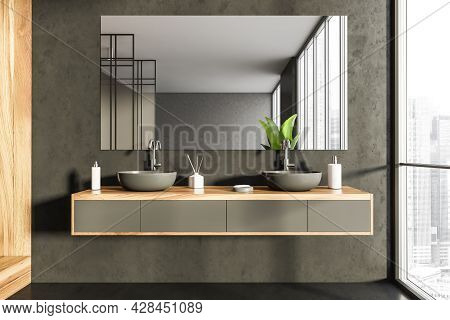 Interior With Mirror On The Black Stone Bathroom Wall, Having Wood Alike Detail With Shelf Vanity, T