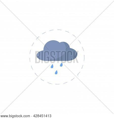 Rain Clipart. Rain Simple Vector Clipart. Rain Isolated Clipart.