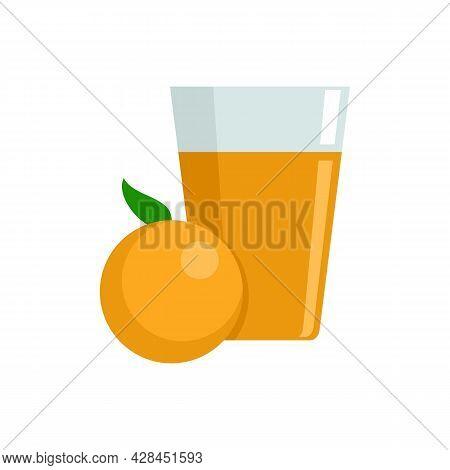 Fruit Orange Juice Icon. Flat Illustration Of Fruit Orange Juice Vector Icon Isolated On White Backg