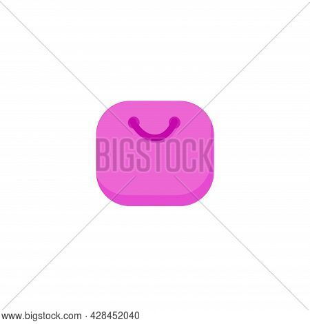 Bag Clipart. Pink Bag Simple Vector Clipart. Pink Bag Isolated Clipart.