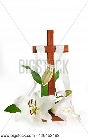 Cross With Lilies Isolated On White Background. Spring Background. Easter, Baptism Or First Communio