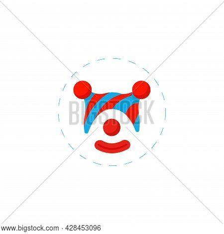 Clown Mask Clipart. Clown Simple Vector Clipart. Clown Isolated Clipart.