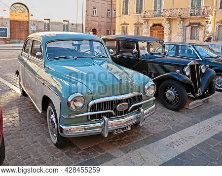 Vintage Italian Fiat 1400 B (1957) In Classic Car Meeting In Jesi, An, Italy - September 29,2019