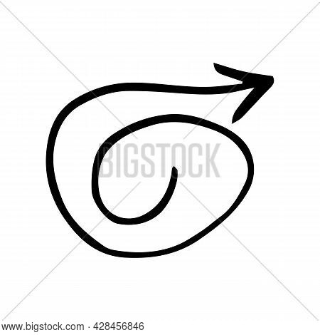 Vector Of Hand Drawn Arrow. Hand Drawn Doodle Icon. Simple Drawing Element Isolated On White Backgro