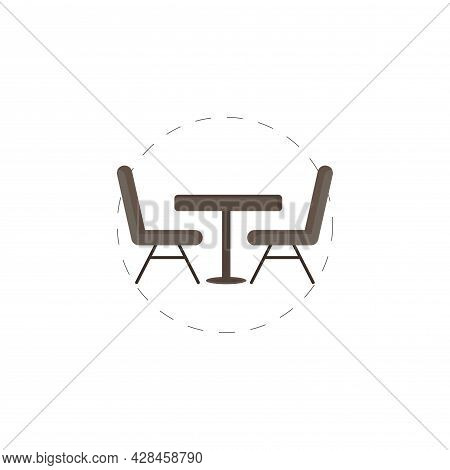 Table With Chairs Clipart. Table With Chairs Simple Vector Clipart. Table With Chairs Isolated Clipa