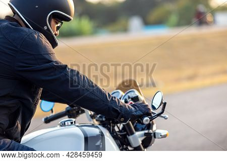 On The Route To A Summer Vacation On A Motorcycle, View That Has Been Cropped Close-up Of The Classi