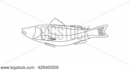 Salmon Fish In One Continuous Line Drawing. Wild Trout In Linear Sketch Style On White Background. V