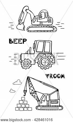 Children S Set Of Construction Equipment. Doodle Illustration For Boys In A Scandinavian Style. Tran