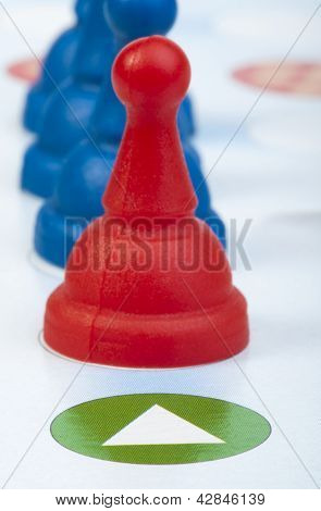 Red And Blue Game Pawns White Isolated