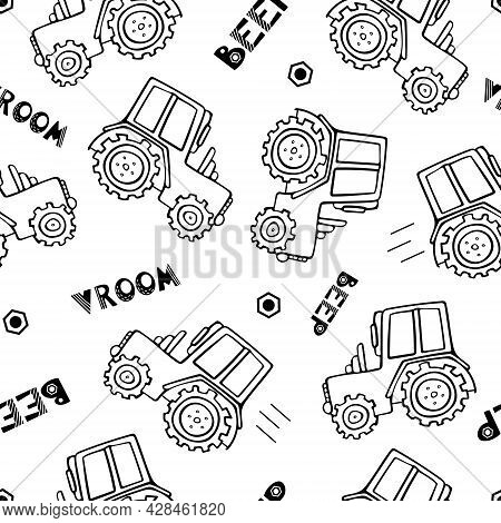 Construction Machinery Seamless Pattern. Doodle Vector Illustration For Boys In A Scandinavian Style
