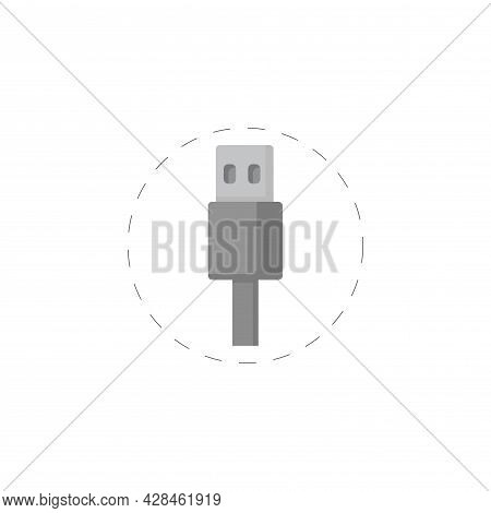 Usb Cable Clipart. Usb Cable Simple Vector Clipart. Usb Cable Isolated Clipart.