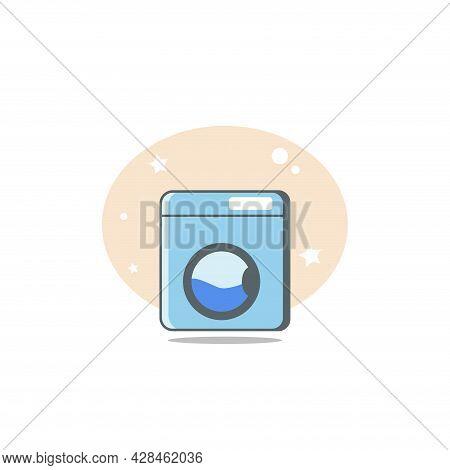 Washing Machine Clipart. Washing Machine Simple Vector Clipart. Washing Machine Isolated Clipart.