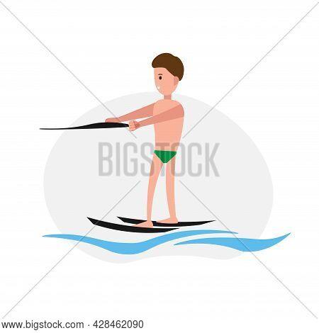 Water Skiing Man Clipart. Water Skiing Simple Vector Clipart. Water Skiing Isolated Clipart.
