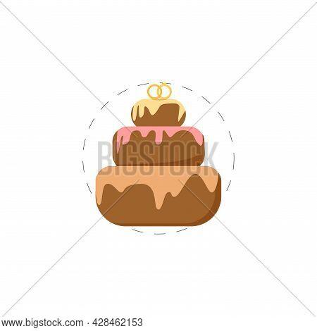 Wedding Cake Clipart. Wedding Cake Simple Vector Clipart. Wedding Cake Isolated Clipart.