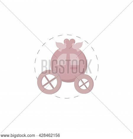 Wedding Carriage Clipart. Wedding Carriage Simple Vector Clipart. Wedding Carriage Isolated Clipart.