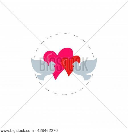 Doves With Heart Clipart. Love Doves With Heart Simple Vector Clipart. Love Doves Isolated Clipart.