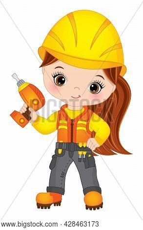 Vector Cute Little Girl Drilling. Vector Construction. Vector Little Redheaded Girl Wearing Construc