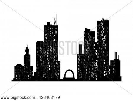 Cityscape silhouette. Monochrome panoramic view. Modern urban landscape. Horizontal urban night town. City building silhouette