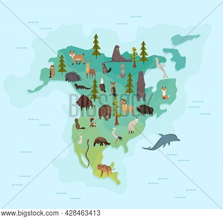 Animal map of north america. Nature fauna cartography concept. Geographical map with local fauna. Continent with mammals and sea life.  illustration in kids style