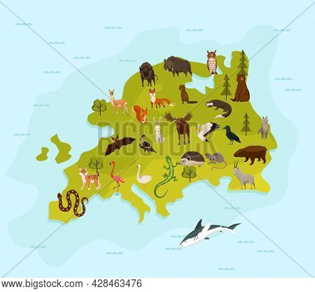Animal map of europe. Nature fauna cartography concept . Geographical map with local fauna. Continent with mammals and sea life.  illustration in kids style