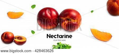 Nectarine On White Background. Long Header Banner Format. Panorama Website Header Banner.
