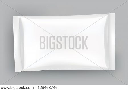 Packaging mockup or pouch template. Realistic glossy blank of doy pack, chip snacks, candy pack or cosmetic product package. Plastic pack template ready for branding