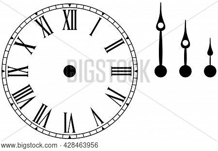 Clock Or Dial Face With Roman Numbers Isolated White Background Hour, Minute And Second Pointer Sing