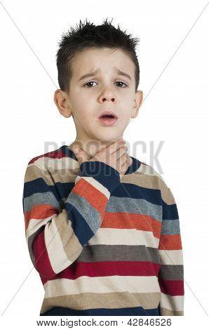 Child have sore throat sick. Studio shot poster