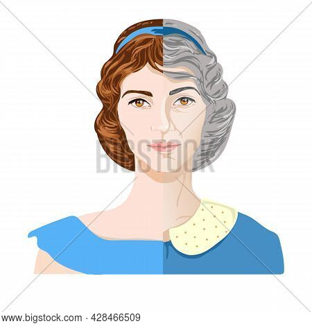 Womans Face In The Process Of Aging. A Woman In Her Youth And Old Age.