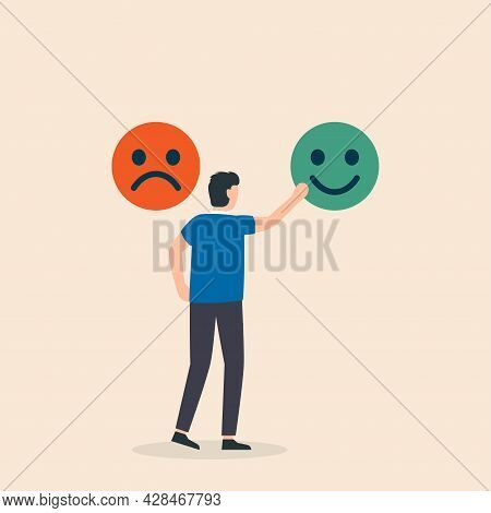 Rating Satisfaction Feedback In Form Of Emotions. People Chooses Emoticons With Different Emotion. F