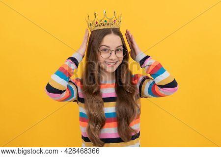 Self Confident Queen. Expressing Smug. Arrogant Princess In Tiara. Cheerful Proud Child.