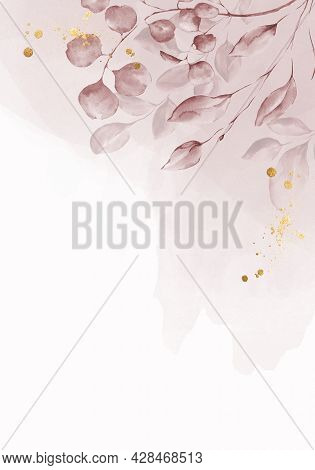 Pale Powder Pink Watercolor Leaves On White Background - Vertical Botanical Design Banner. Floral Pa