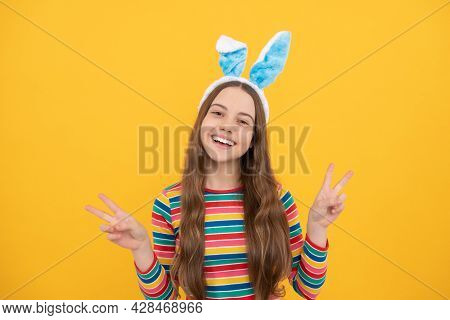 Bunny Is Coming. Happy Easter Holiday. Funny Child In Hare Ears. Teenager Girl Wear Rabbit Costume.