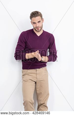 Mens Wear. Handsome Man Wear Pullover With Pants. Casual Outfit. Mens Fashion. Trendy Menswear