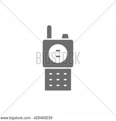 Radio Transceiver, Walkie Talkie, Portable Device Gray Icon.