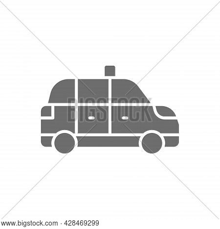 Taxicab, Taxi, Cab Gray Icon. Isolated On White Background