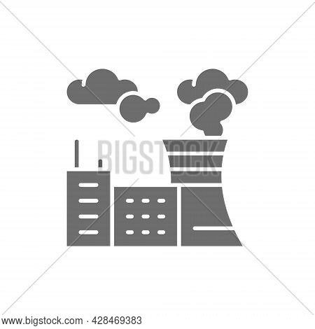 Air Pollution Of Factory, Plant Carbon Dioxide Emissions Gray Icon.