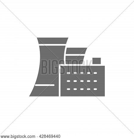 Thermal Or Nuclear Power Plant Gray Icon.