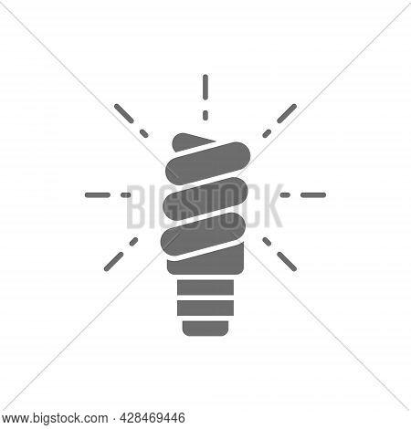 Energy Saving Lamp, Light Bulb Gray Icon.
