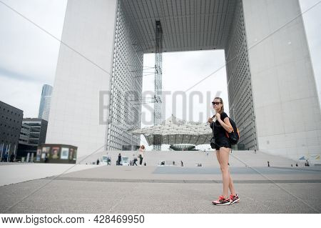 Travel Bag Is Her Companion. Sexy Woman Travel In Modern City. Leisure And Pleasure Travel. Travelin
