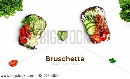 Bruschetta With Different Fillings On A White Background. Vegetables, Meat And Cheese Bruschetta.