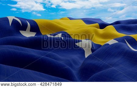 Bosnia And Herzegovina Flag In The Wind. Realistic And Wavy Fabric Flag. 3d Rendering.